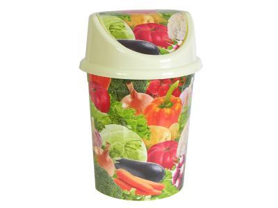 Ведро 14л Овощи кремовое с подвижной крышкой