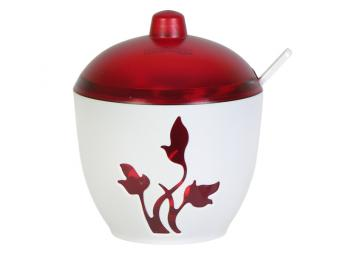 Сахарница Viola красный полупрозрачный