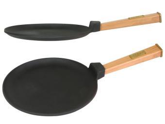 Блинница чугунная 24см с деревянной ручкой