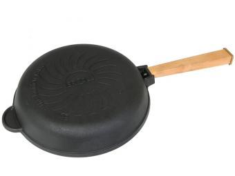 Сковорода-гриль чугунная 24см с ручкой