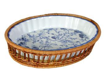 Блюдо для запекания Оливки синие овальное 33см