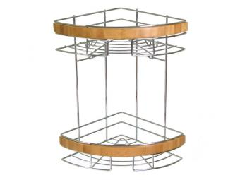 Полка 2-х ярусная угловая с деревянными элементами