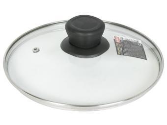 Крышка 30см стеклянная с нерж ободком и ручкой VETRO Mallony