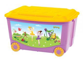 Ящик для игрушек на цветных колесах с аппликацией