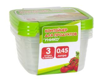 Комплект контейнеров 3шт по 0,45л для СВЧ Унико