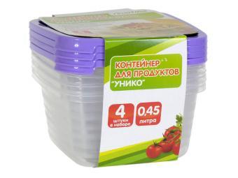 Комплект контейнеров 4шт по 0,45л для СВЧ Унико