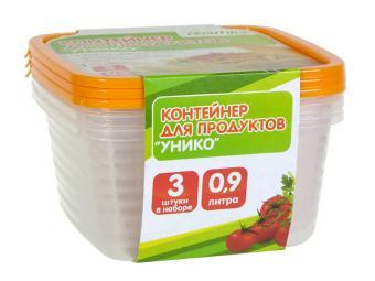 Комплект контейнеров 3шт по 0,9л для СВЧ Унико