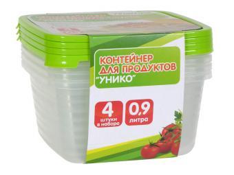 Комплект контейнеров 4шт по 0,9л для СВЧ Унико