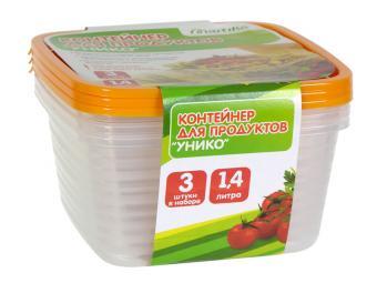 Комплект контейнеров 3шт по 1,4л для СВЧ Унико