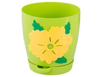 Горшок цветочный Адель 1,5л с поддоном (светло-зелёный)