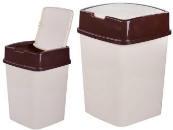 Контейнер 18л для мусора квадратный (слоновая кость)