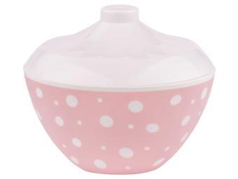 Сухарница с крышкой ''Горошек'' 1,45л бело-розовый