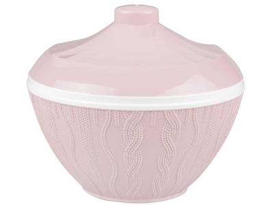 Салатник 1, 45л с крышкой ''Меланж'' (розовый) Альтернатива