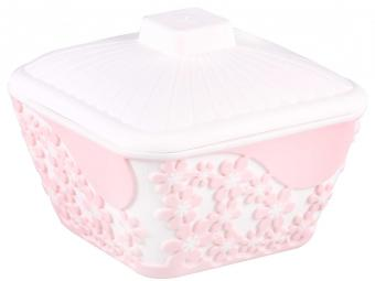 Салатник 0,5л ''Бархат'' квадратный с крышкой (розовый)