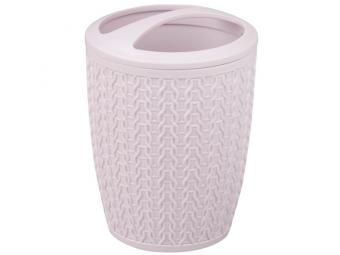 Подставка для зуб.щеток ''Вязаное плетение'' розовый