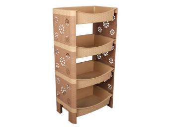Этажерка Плетенка 4 ящика бежево-коричневая