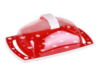 Масленка Горошек бело-красный 18,5см