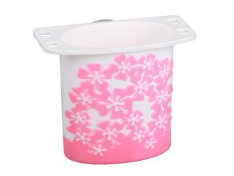 Подставка для зубных щеток Камелия бело-розовая малая