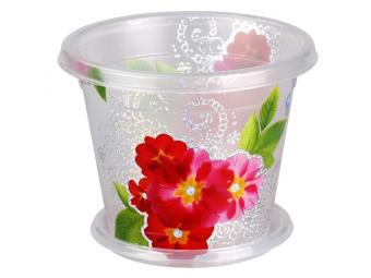 Горшок кашпо Вальс цветов 1л с поддоном прозрачный