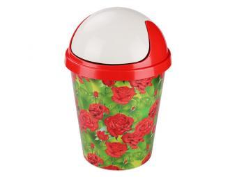 Контейнер для мусора 10л Алые розы