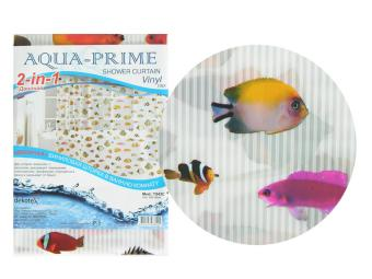 Штора для ванной Рыбки полоски AQUA-PRIME 180*180см 2 в 1