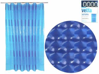 Штора для ванной 180*180см винил 3D синий VETTA