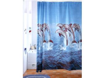 Штора для ванной 180*180 Стая днельфинов