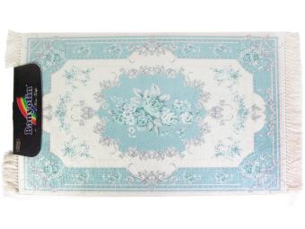 Коврик BANYOLIN Velvet 60*100см Цветы бахрома (голубой)