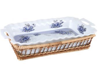 Блюдо прямоугольное в плетеной корзине Синие огурц