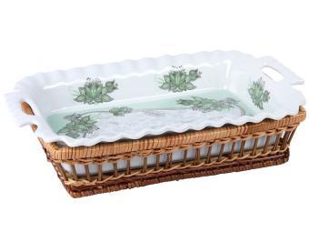 Блюдо прямоугольное в плетеной корзине Огурцы зел