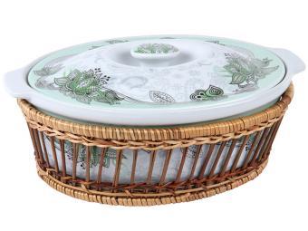 Утятница керамическая 2л Огурцы зеленые