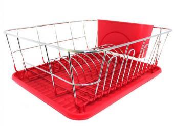 Сушилка для посуды хром с поддоном (красный)