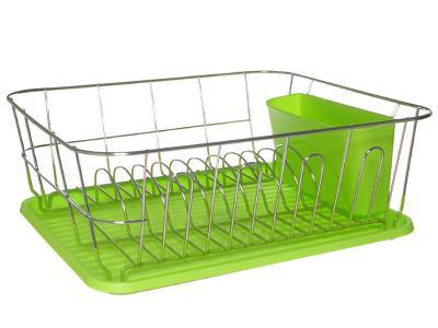 Сушилка для посуды хром с поддоном (зеленый)