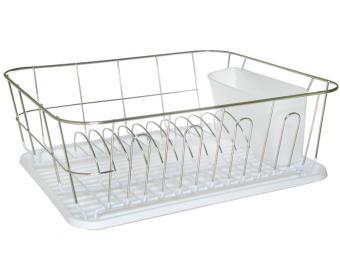 Сушилка для посуды хром с поддоном (белый)