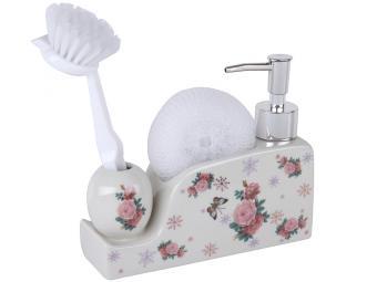 Дозатор для моющего средства с щеткой и губкой