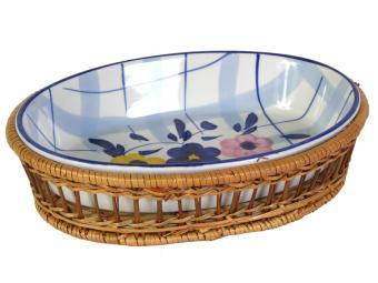 Блюдо овальное керамическое в корзинке Клетка