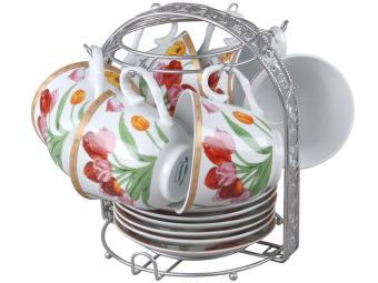 Чайный набор 12 пр Тюльпаны 220мл на подставке RPO-115020-13