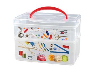 Коробка универсальная с декором и ручкой 2 секции