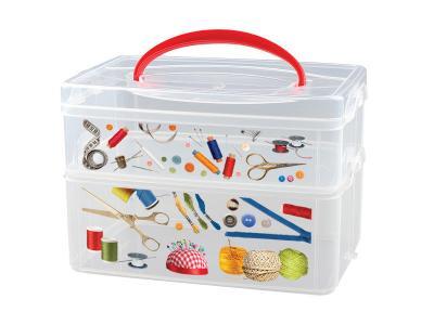 Коробка универсальная с декором и ручкой 2 секции Бытпласт С12334