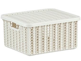 Коробка 1,5л Вязание с крышкой Белый ротанг