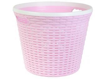 Емкость для хранения 15л Ротанг розовая без крышки