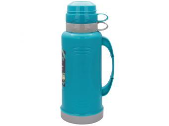 Термос 1,8л пластиковый со стеклянной колбой, 2 чашки