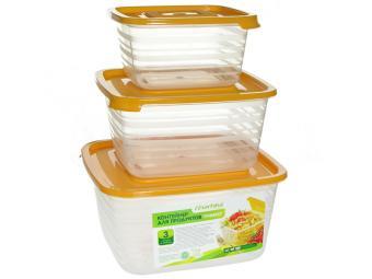 Набор контейнеров 3шт для продуктов (СВЧ) ''Унико'' квадратный (0,45л, 0,9л, 1,4л)