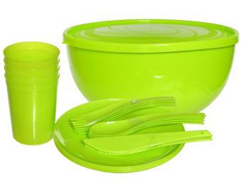 Набор посуды для пикника на 4 персоны Дачный лайм