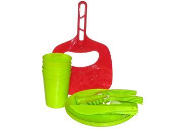 Набор посуды для пикника на 4 персоны, веер в подарок (лайм)