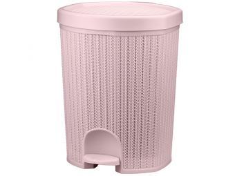 Контейнер для мусора 18л с педалью Вязание (чайная роза)