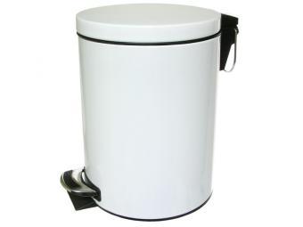 Контейнер для мусора 12л круглый с педалью с доводчиком белый