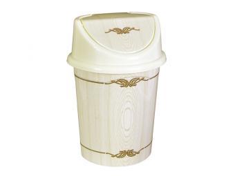Контейнер для мусора Беленый дуб 8л с подвижной крышкой
