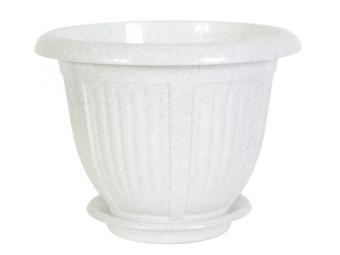 Горшок цветочный Волна 1,1л (16*12см) белый флок
