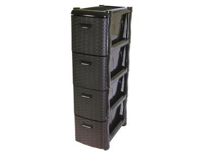 Комод 4-х секционный Ротанг коричневый М-пластика